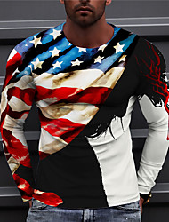 cheap -Men's Unisex T shirt 3D Print Graphic Prints American Flag Print Long Sleeve Daily Regular Fit Tops Casual Designer Big and Tall Red