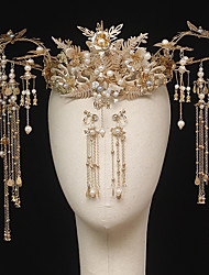 cheap -1 Piece Chinese Bride Headdress Golden Phoenix Crown Ancient Costume Tassels Atmospheric Show Wo Clothing Dragon And Phoenix Gown Accessories