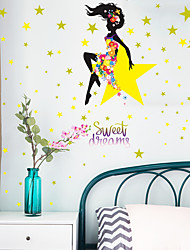 cheap -beautiful girl star flower bedroom entrance wall home furnishing decoration stickers self-adhesive