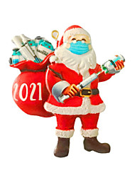 cheap -Christmas Resin Snowman Christmas Survivor Mask Gift Giving Santa Claus A Pair Of Pendant