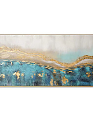 cheap -Oil Painting Handmade Hand Painted Wall Art Modern Gold Foil Blue Abstract Picture Large Size Home Decoration Decor Rolled Canvas No Frame Unstretched