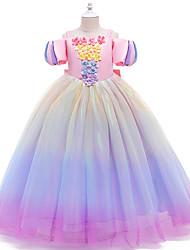 cheap -Ball Gown Ankle Length Flower Girl Dresses Party Satin Short Sleeve Off Shoulder with Sash / Ribbon