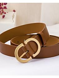 cheap -Women's Waist Belt Carnival Outdoor Dark Brown Black Belt Pure Color