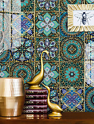 cheap -European-style Thickened Tile Self-adhesive Paper Dream Blue Kitchen Oil-proof And Waterproof Removable Wall Stickers