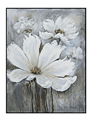 cheap -Oil Painting Handmade Hand Painted Wall Art White Flower Abstract Bedroom Decoration Paintings Home Decoration Decor Stretched Frame Ready to Hang
