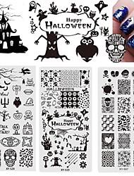 cheap -4 pcs Nail Art Templates Stamping Plate Major Design Halloween Theme Skull Ghost Devil Nail Printing Mold Templates Plates Image