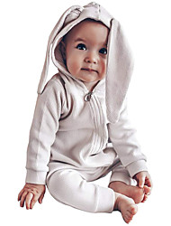 cheap -Baby Unisex Easter Jumpsuits & Rompers Active Casual Outdoor Easter Cotton Blue Yellow Blushing Pink Rabbit Decor Solid Color Animal Zipper Long Sleeve / Fall / Winter