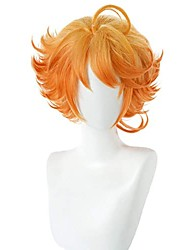 cheap -emma wig cosplay costume wigs short curly orange anime synthetic hair+free wig cap