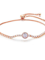 cheap -Women's Clear Cubic Zirconia Bracelet Geometrical Heart Stylish Simple Copper Bracelet Jewelry Rose Gold / Silver For Daily Promise