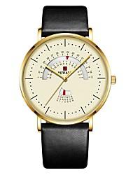 cheap -Reward New Luxury Men Quartz Watch Metal Leather Strap Waterproof Men's Watches Calendar Week Clock Sports Wristwatch
