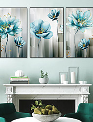 cheap -Wall Art Canvas Prints Painting Artwork Picture Floral Botanical Blue Home Decoration Dcor Rolled Canvas No Frame Unframed Unstretched