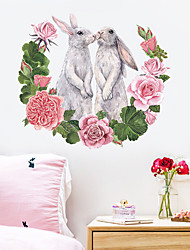 cheap -new couple rabbit rose flower bedroom home cabinet wall decoration removable wall sticker self-adhesive