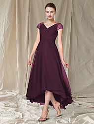 cheap -A-Line Mother of the Bride Dress Elegant V Neck Asymmetrical Ankle Length Chiffon Cap Sleeve with Pleats Beading Sequin 2021