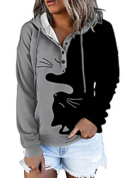 cheap -Women's Pullover Hoodie Sweatshirt Dandelion Flower Animal Print Daily Other Prints Basic Hoodies Sweatshirts  Blue Gray Black