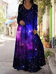 cheap -Women's A Line Dress Maxi long Dress Blue Purple Yellow Green Light Green Long Sleeve Color Gradient Butterfly Animal Print Fall Round Neck Casual Regular Fit 2021 S M L XL XXL 3XL 4XL 5XL