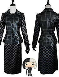 cheap -One Hundred and One Dalmatians Cruella De Vil Outfits Masquerade Women's Movie Cosplay Vacation Halloween Black Top Skirt Gloves Halloween Carnival Masquerade Polyester