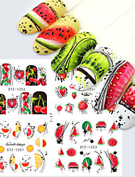 cheap -4 in 1 Nail Stickers Water Decals Summer Fruit Watermelon Flowers Abstract Nail Art Sticker Sliders Tattoo Decorations