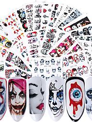 cheap -25pcs/Set Halloween Nail Stickers Water Decals Skull Bone Black Nail Art Transfer Slider Foils Manicure Decorations