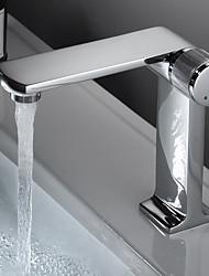 cheap -Bathroom Sink Faucet - Centerset Chrome / Electroplated Centerset Single Handle One HoleBath Taps