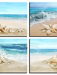 cheap -4 Panels Wall Art Canvas Prints Painting Artwork Picture Sea Beach Shells Painting Home Decoration Decor Rolled Canvas No Frame Unframed Unstretched