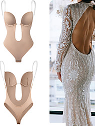cheap -Body Shapewear Deep V Neck Body Shaper Backless U Plunge Thong Shapers Waist Trainer Women Clear Straps Padded Push Up Corset