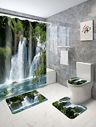 cheap -Spring Fresh Scenery Series Digital Printing Four-Piece Set Shower Curtains and Hooks Modern Polyester Machine Made Waterproof Bathroom