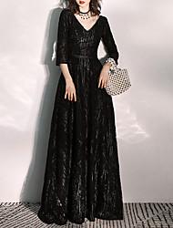 cheap -A-Line Glittering Elegant Prom Formal Evening Dress V Neck 3/4 Length Sleeve Floor Length Tulle with Sash / Ribbon Sequin 2021