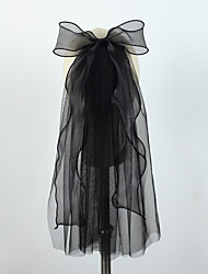cheap -One-tier Party / Evening / Vintage Style Wedding Veil Shoulder Veils / Elbow Veils with Satin Bow Tulle