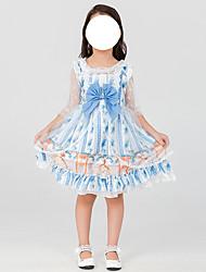 cheap -Lolita Sweet Lolita Cute Dress Cosplay Costume Girls' Japanese Cosplay Costumes Blue Print Short Sleeve Above Knee