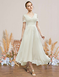 cheap -A-Line Wedding Dresses V Neck Strapless Asymmetrical Ankle Length Chiffon Lace Short Sleeve Romantic Simple with 2021
