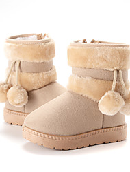 cheap -Girls' Boots Snow Boots Fur Lining Suede Walking Cute Snow Boots Big Kids(7years +) Little Kids(4-7ys) Daily Indoor Pom-pom Pink Khaki Black Winter / Mid-Calf Boots / Rubber