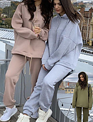 cheap -Women's 2 Piece Tracksuit Sweatsuit Street Casual 2pcs Winter Long Sleeve Cotton Breathable Soft Fitness Running Jogging Training Sportswear Oversized Solid Colored Hoodie Army Green Gray Khaki Black
