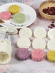 cheap -6pcs 3D Flowers Stamps Moon Cake Decor Mould Barrel Round Mooncake Mold 50g Pastry Mooncakes Hand DIY Tool Drop Shipping