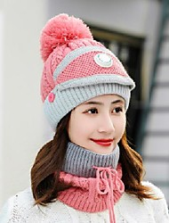 cheap -Winter Beanie Hats Scarf Set Warm Knit Hats Skull Cap Neck Warmer with Thick Fleece Lined Winter Hat & Scarf for Men Women Camping Hiking Skiing