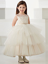 cheap -Princess Ankle Length Flower Girl Dresses Party Polyester Sleeveless Jewel Neck with Bow(s)