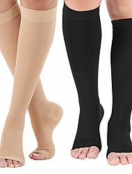 cheap -Open Toe Compression Socks 1 Pair 480D Knee High Support Stockings Toeless for Men or Women Support Pregnancy Running Sports Flight Travel with Free Auxiliary Wear Socks
