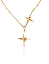 cheap -Pendant Necklace Women's Geometrical Clear S925 Sterling Silver Star Dainty Luminous Wedding Gold 21-50 cm Necklace Jewelry 1pc for Wedding Geometric