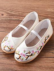 cheap -Girls' Modern Shoes Ballroom Shoes Flat Embroidery Pattern / Print Flat Heel Round Toe Blue Blushing Pink White Elastic Band Children's / Silk