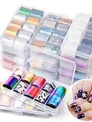 cheap -10Pcs Holographic Nail Foil Set Transparent AB Color Transfer Sticker Decorations 2.5*100cm Mix Designs Manicure Nail Art Decals
