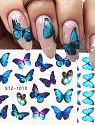 cheap -4pcs/Set Nail Butterfly Stickers Watercolor Decals Blue Flowers Sliders Wraps Manicure Summer Nail Art Decorations