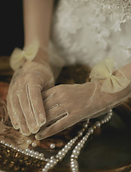 cheap -Polyester Wrist Length Glove Gloves / Imitation Pearl With Faux Pearl
