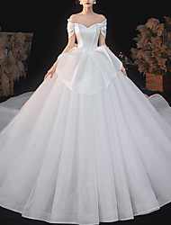 cheap -Princess Ball Gown Wedding Dresses Off Shoulder Chapel Train Satin Tulle Short Sleeve Formal Luxurious Sparkle & Shine with Pleats Sequin 2021
