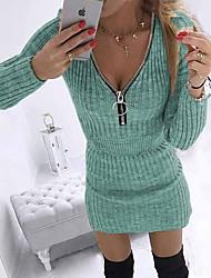 cheap -Women's Sweater Jumper Dress Short Mini Dress Blue Purple Blushing Pink Gray Khaki Green Black Long Sleeve Solid Color Zipper Fall Winter V Neck Work Elegant Casual Party Holiday Club Regular Fit 2021