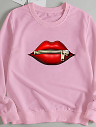 cheap -Women's Pullover Sweatshirt Graphic Lip Print Print Casual Hot Stamping Casual Hoodies Sweatshirts  Loose Wine Red Blushing Pink Red
