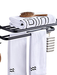 cheap -Towel Rack Punch-Free Shower Holder Bathroom Accessories Folding Wall Organizer Hook Hanger Matte Black Aluminum Storage Shelf