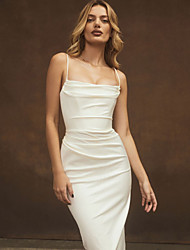 cheap -Sheath / Column Reformation Amante Sexy Homecoming Cocktail Party Dress Spaghetti Strap Sleeveless Knee Length Polyster with Sleek 2021