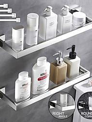 cheap -Modern Bath Toilet Rack Stainless Steel Tempered Glass Shelf Rack Shower Toiletries Rack Cosmetics Storage Rack