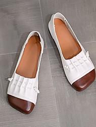 cheap -Women's Flats Flat Heel Square Toe PU Color Block Light Brown White Black
