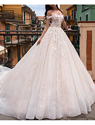cheap -Princess A-Line Wedding Dresses Off Shoulder Court Train Lace Tulle Sleeveless Formal Romantic Luxurious with Beading Appliques 2021