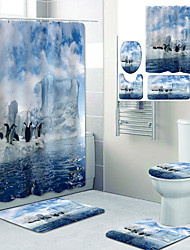 cheap -Cute Penguin Printed Bathroom Home Decoration Bathroom Shower Curtain Lining Waterproof Shower Curtain With 12 Hooks Floor Mats and Four-Piece Toilet Mats.